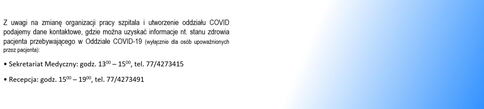 Stan zdrowia pacjenta COVID