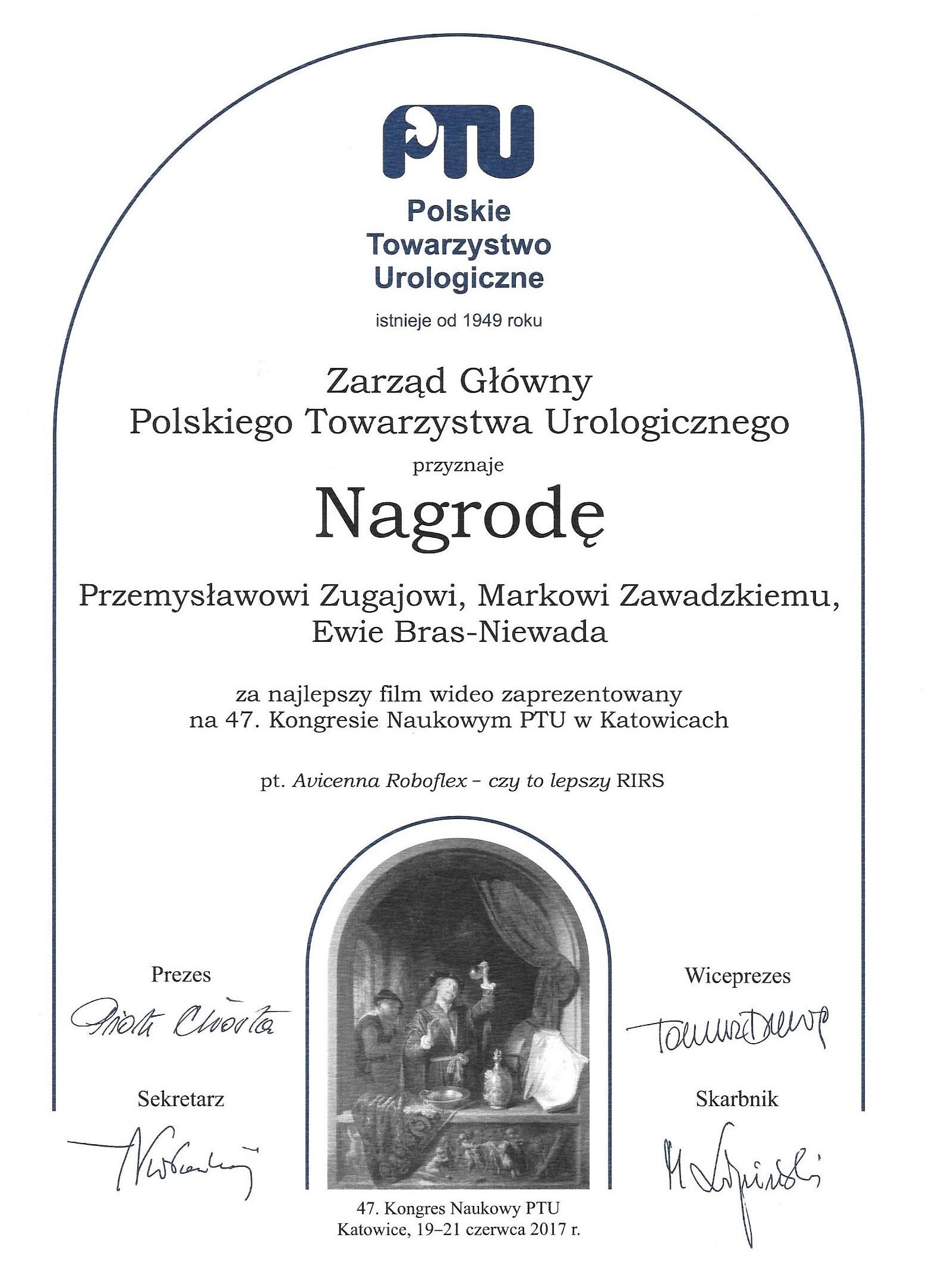 dyplom najlepsza praca podczas Kongresu Polskiego Towarzystwa Urologicznego